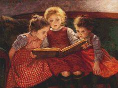 Three Reading Girls Cross Stitch Pattern