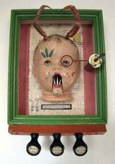 Mutant Baby, an assemblage and altered art Found Object Art, Found Art, Creepy Baby Dolls, Weird Art, Strange Art, Scary Art, Doll Parts, Assemblage Art, Doll Head
