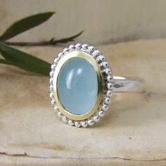 A Handmade Cabochon Aquamarine Beaded Ring In Silver & Gold Bespoke Jewellery, Contemporary Jewellery, Beaded Rings, Gemstone Rings, Commitment Rings, Unusual Engagement Rings, Conflict Free Diamonds, Rose Cut Diamond, Jewelry Design