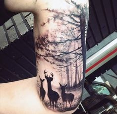 Stylist Black Ink Deer Family In Forest Half Sleeve Tattoo On Male