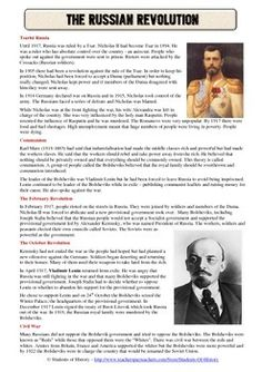 Russian Revolution Common Core Reading Worksheet