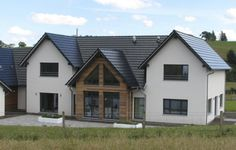 WeberHaus - Remote prefabricated property with a built-in pool, situated in rural Scotland Farmhouse Architecture, Modern Farmhouse Exterior, Classical Architecture, House Plans Uk, Prefabricated Houses, Prefab Homes Uk, Self Build Houses, Bungalow Renovation, House Goals