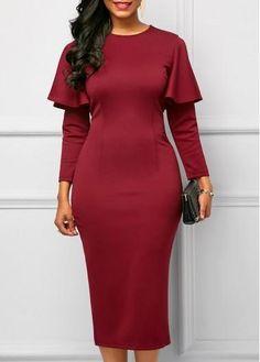 60a6060035e1 #rotita.com - #unsigned Long Sleeve Back Slit Burgundy Dress - AdoreWe.com