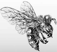 UK-based designer and illustrator Si Scott created these gorgeous illustrations of insects and other wildlife, hand drawn with pen and ink,. Si Scott, Bee Tattoo, Tattoo Life, Honey Bee Drawing, Dragonfly Drawing, Illustrator, David Downton, Bee Art, Insect Art