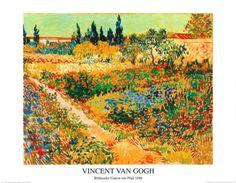 Bluhender Garten mit Pfad Art Print