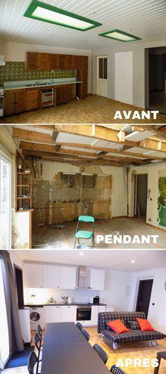 Montage photo (avant/pendant/après) des travaux dans la cuisine