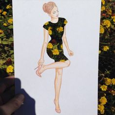 Interesting idea if your lost for ideas on patterns for a garment. Arte Fashion, Paper Fashion, 3d Fashion, Fashion Illustration Sketches, Fashion Sketches, Illustration Art, Cut Out Art, Arte Sketchbook, Dibujos Cute