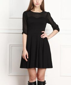 Look what I found on #zulily! Black Sheer-Sleeve A-Line Dress by Reborn Collection #zulilyfinds
