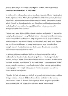 Should children go to nursery school prior to their primary studies? Ryan writes a model essay