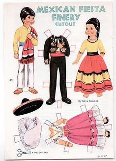 Vintage MEXICAN FIESTA FINERY Paper Dolls 1967 uncut/NEVA SCHULTZ/Mexico/Costume (10/04/2013)