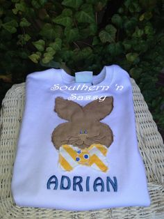 Raggy Edge Bunny TShirt With Monogram by southernnsassy on Etsy, $25.00
