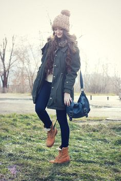 "Navy Skinny Asos Jeans, Tawny Suede Timberland Boots | ""Winter Casual"" by mrs_whiskers"