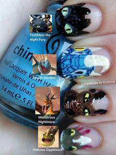 How to train your dragon nails Awesome! I love Toothless! Hiccup Y Astrid, Dragon Nails, Nail Art Designs Videos, Dragon Party, Dragon Birthday, How To Train Your Dragon, Dreamworks, Cool Nail Art, Nail Care