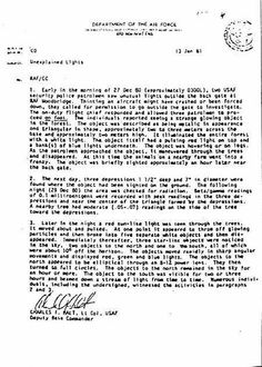 Raportul Lt. col. Charles Halt către Ministerul Apărării