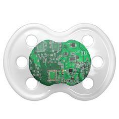 Computer Geek Circuit Board - green Baby Pacifiers
