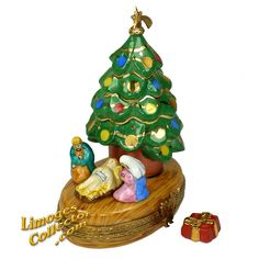 Christmas Tree Holy Family Nativity Limoges Box by Beauchamp | LimogesCollector.com