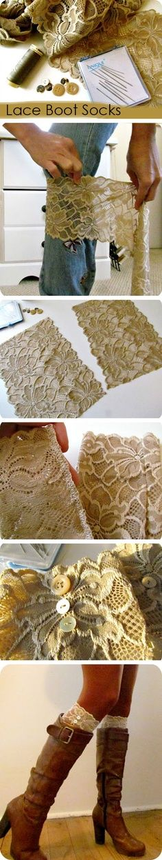 Lace boot cuffs! so doing this!! I love the vintage look! Sewing, Ideas, Fashion, Diy Lace, Diy Crafts, Boot Cuffs, Diy Clothing, Lace Boot Socks, Lace Boots Socks
