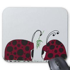 A Guaranteed Kiss Mouse Pads. Designed by #OneArtsyMomma $12.95 #ladybugmousepad #ladybugs