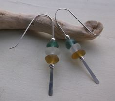 Green with and Amber Sea Glass Sterling Silver by SeahamWaves, £18.00