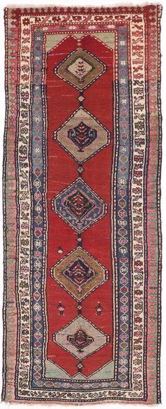 """NLR 301- Antique Caucasian Runner rug. 4'x 9'10"""" #AntiqueCaucasianrunne #Antiquerunner"""