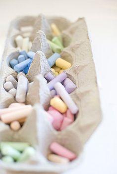 chalk in egg carton