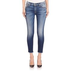 7 For All Mankind The Ankle Skinny Raw-Edge Jeans ($210) ❤ liked on Polyvore featuring jeans, apparel & accessories, bright indigo, 7 for all mankind, raw edge jeans, zipper jeans, skinny ankle jeans and indigo jeans