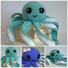 FOR PAGE 1 OF 2 CLICK HERE  SC: single crochet  HDC: half double crochet  DC: double crochet  TRC: triple crochet  INC: two single croch... Cute Crochet, Crochet Crafts, Crochet Dolls, Crochet Yarn, Crochet Sea Creatures, Crochet Octopus, Crochet Disney, Baby Toys, Easy Crochet Animals