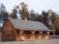 gambrel pole barn interior photos | Gambrel frame horse barn: 40x50x10 with 8 stalls, white pine board ...