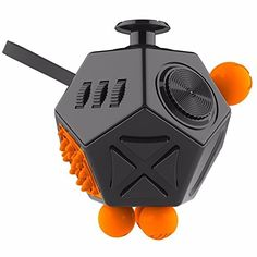 Fidget Cube Relieves Stress And Anxiety for Children and Adults Anxiety Attention Toy (Black&Orange)