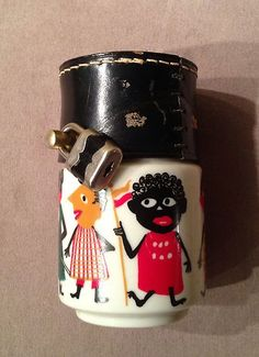 VINTAGE/ANTIQUE PORCELAIN AND LEATHER BANK BLACK AMERICANA SAVE MONEY BOX