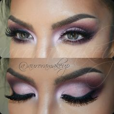 Loving this lavender and pink makeup look...would look stunning on one with hazel or brown eyes. Or green...or blue :P