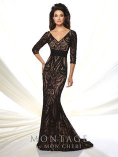 07c51eba4e1 Montage By Mon Cheri 116952 - Lace and chiffon fit and flare gown with  three-quarter length sleeves