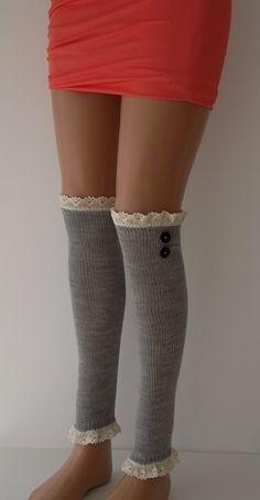 SOCKS Lihgt Grey  Leg Warmers Boot Socks  by CarnavalBoutique, $25.00