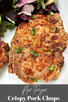 Air Fryer Fried Pork Chops is a quick recipe using boneless or bone-in pork chops, buttermilk, and zesty seasoning to provide the perfect crunchy texture. Frying pork chops has never been easier! This recipe includes instructions for how long you air fry pork chops and includes the temperature. #AirFryerPorkChops Recipe Using Boneless Pork Chops, Fried Boneless Pork Chops, Chops Recipe, Pork Chops Bone In, Air Fry Pork Chops, Thin Pork Chops, Air Fryer Recipes Pork Chops, Air Fryer Recipes Easy, Pork Chop Recipes