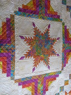 curved cross hatching with Renae's Arc -- Great Quilting -- Feathered Star