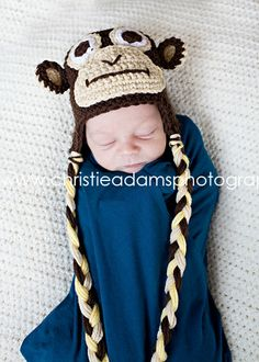 The Monkey Earflap Beanie in Chocolate Brown by mamamegsyarnshoppe, $22.00