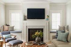 New living room paint color ideas benjamin moore fireplaces Ideas Living Room Themes, New Living Room, Room Paint Colors, Paint Colors For Living Room, Grey Interior Doors, House Of Turquoise, Family Room Design, White Rooms, Designer