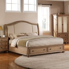 Coventry Sleigh Storage Platform Bed - Weathered Driftwood - Platform Beds at Simply Platform Beds
