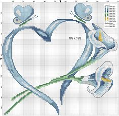 coeur et lys Cross Stitch Heart, Cross Stitch Needles, Beaded Cross Stitch, Crochet Cross, Counted Cross Stitch Patterns, Cross Stitch Flowers, Cross Stitch Designs, Cross Stitch Embroidery, Ribbon Flower