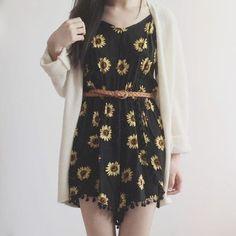b5fe03c818 Sunflower Pom Pom Trim Romper (Black Yellow) from Megoosta Fashion
