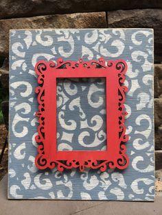 Picture Frame, frame, wood frame, homemade picture frame, handmade picture frame, distressed rustic picture frame, blue picture frame on Etsy, $25.00