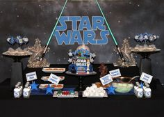 27 ideas for Star Wars party. I see this in our future. G claps and laughs when these movies are on.