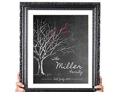 PERSONALIZED WEDDING Gift, Family Tree Print, Gift for Wife Husband, 50th Anniversary Gift, Vintage Image, Chalkboard Style Red Black
