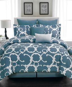 Loving this Slate Blue Quilted Comforter Set on #zulily! #zulilyfinds