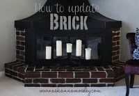 Possible option for the ugly fireplace... using concrete stain to update brick