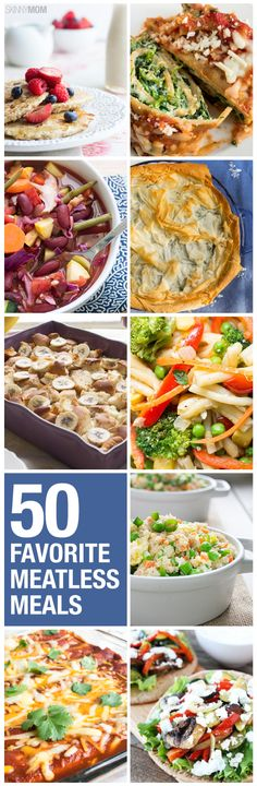 Meals for Meatless Monday Our roundup of 50 meatless Monday meals.Our roundup of 50 meatless Monday meals. Veggie Recipes, Vegetarian Recipes, Cooking Recipes, Healthy Recipes, Veggie Meals, Tasty Meals, Pescatarian Diet, Pescatarian Recipes, Pesco Vegetarian