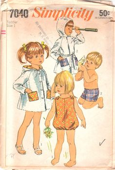 Simplicity 7040 1960s Toddlers Playsuit Sunsuit Swim Trunks Shorts and Beach Robe girls boys vintage sewing pattern by mbchills