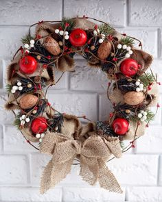 Items similar to Christmas wreath of burlap red apples and branches of spruce in a rustic style for the holiday Nativity for home decoration on Etsy Front Door Christmas Decorations, Apple Decorations, Christmas Front Doors, Holiday Wreaths, Holiday Decor, Apple Wreath, Rustic Christmas, Christmas Holiday, Winter Holiday