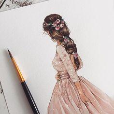 Fashion Design Sketchbook, Fashion Design Drawings, Fashion Sketches, Dress Design Drawing, Drawing Art, Fashion Drawing Dresses, Fashion Illustration Dresses, Watercolor Fashion, Watercolor Dress