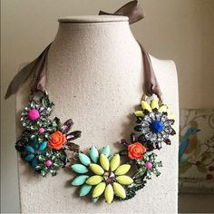 Floral colorful statement necklace Adds a lot of pop to any outfit! Jewelry Necklaces
